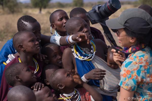 Elley Ho shooting the local Maasai in Arusha Tanzania