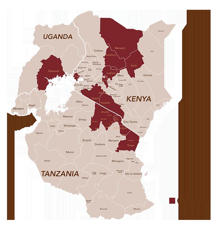 map of Uganda, Tanzania, and Kenya